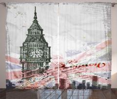 Big Ben Desenli Fon Perde Gri İngiltere Nostaljik