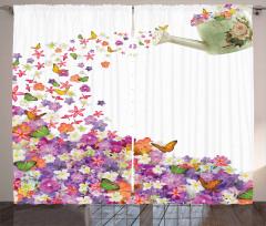 Rengarenk Çiçek Desenli Fon Perde Şık Çeyizlik