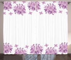 Leylak Çiçekleri Desenli Fon Perde Lila Beyaz Şık