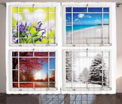 Dört Mevsim Temalı Fon Perde Beyaz Şık Tasarım