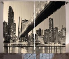 Köprü ve Gökdelen Temalı Fon Perde Gri Deniz Şehir