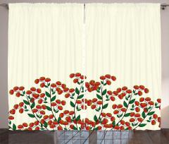 Dekoratif Kızılcık Desenli Fon Perde Krem Kırmızı