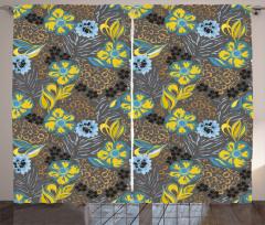 Nostaljik Çiçek Desenli Fon Perde Sarı Mavi Şık