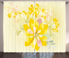 Sarı Sulu Boya Çiçekler Fon Perde Dekoratif