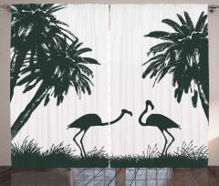 Siyah Beyaz Flamingo Desenli Fon Perde Şık Tasarım