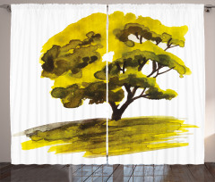Meşe Ağacı Desenli Fon Perde Dekoratif Yeşil
