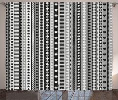Retro Kilim Desenli Fon Perde Siyah Beyaz Gri