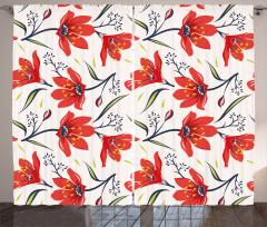 Kırmızı Şık Çiçekler Fon Perde Dekoratif Çeyizlik