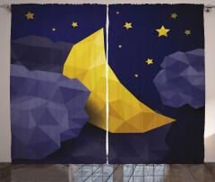 Bulut Ay ve Yıldızlar Fon Perde Geometrik Sarı