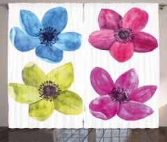 Bahar Çiçekleri Fon Perde Mavi Sarı Pembe Kırmızı