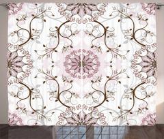 Çiçek Desenli Fon Perde Beyaz Pembe Şık Tasarım