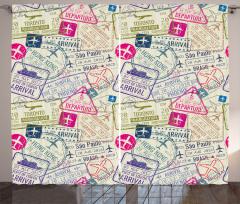 Pasaport Vize Pulları Desenli Fon Perde Bej