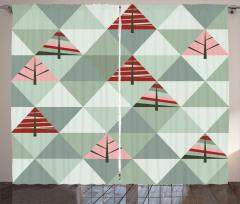 Üçgen Ağaçlar Desenli Fon Perde Geometrik Şık