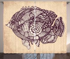 Balık Desenli Fon Perde Bej Nokta Şık Tasarım