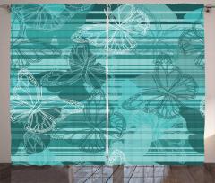 Kelebek Desenli Fon Perde Yeşil Beyaz Şık Tasarım