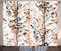 Ağaçlar ve Silüetleri Fon Perde Dekoratif Şık