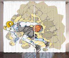 Basketbolcu Koç Desenli Fon Perde Şık Tasarım