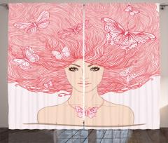 Saçları Kelebekli Kız Fon Perde Dekoratif Şık