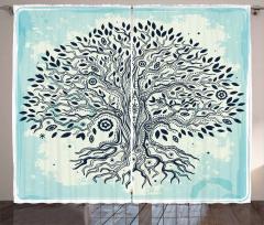 Ağaç Desenli Fon Perde Mavi Siyah Şık Tasarım