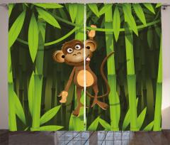 Ormandaki Maymun Desenli Fon Perde Kahverengi