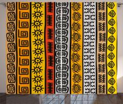 Etnik Afrika Motifleri Fon Perde Kahverengi
