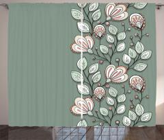 Yeşil Çiçekler ve Yaprakları Fon Perde Dekoratif