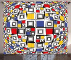 Mozaik Kareler Desenli Fon Perde Geometrik Şık