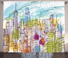 New York Gökdelenleri Fon Perde Mavi Gökyüzü