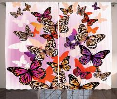Rengarenk Kelebek Desenli Fon Perde Şık Tasarım