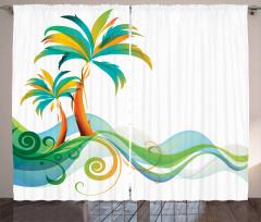 Palmiye ve Deniz Temalı Fon Perde Yeşil Mavi Beyaz