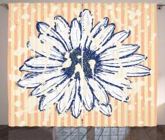 Çiçek Desenli Fon Perde Lacivert Sarı Beyaz Şık