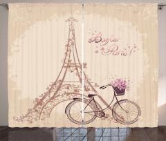 Eyfel Kulesi ve Bisiklet Temalı Fon Perde Bej Şık