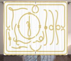 Gemici Düğümü Temalı Fon Perde Sarı Beyaz Deniz