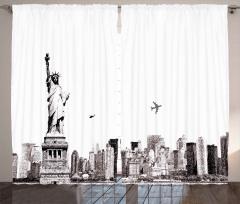 Özgürlük Heykeli Uçak Fon Perde Şık