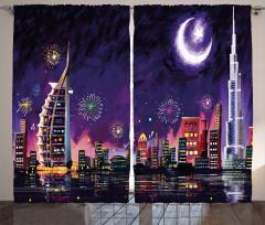 Havai Fişekli Dubai Fon Perde Ay ve Yıldız