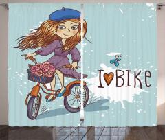 Bisiklete Binen Kız Fon Perde Çiçekler