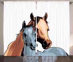 Anne At ve Tayı Fon Perde Dekoratif