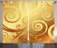 Altın Spiral Desenli Fon Perde Dekoratif