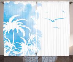 Mavi Palmiye ve Kuşlar Fon Perde Şık
