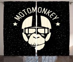 Motorcu Maymun Desenli Fon Perde Siyah Beyaz