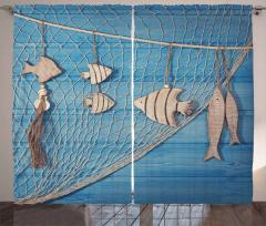 Balık ve Ağ Temalı Fon Perde Mavi Bej Ahşap Şık