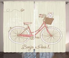 Pembe Bisiklet ve Köpek Fon Perde Paris