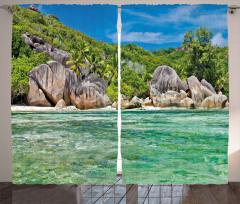 Tropik Kayalık Sahil Fon Perde Dekoratif