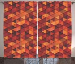 Kırmızı Turuncu Üçgen Fon Perde Dekoratif