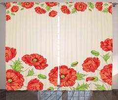 Pembe Kırmızı Çiçekler Fon Perde Dekoratif