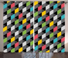 3D Diyagonal Karolar Fon Perde Şık