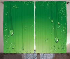 Yeşil Zemin ve Damlalar Fon Perde Dekoratif