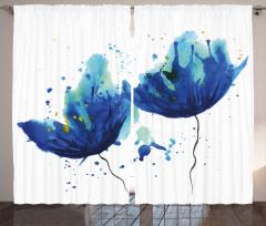 Sulu Boya Mavi Çiçekler Fon Perde Sanatsal
