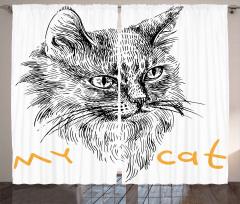 Monokrom Tarama Kedi Fon Perde Benim Kedim