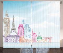 Ünlü Şehir ve Simgeleri Fon Perde Dekoratif